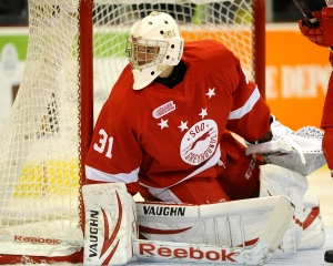 Brandon Halverson of the Sault Ste. Marie Greyhounds. Photo by Aaron Bell/OHL Images