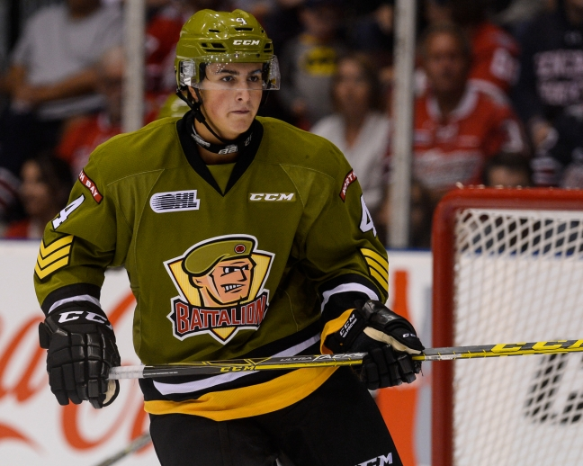 Cam Dineen of the North Bay Battalion. Photo by Aaron Bell/OHL Images