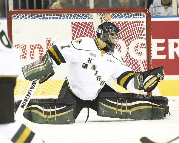 Tyler Parsons of the London Knights. Photo by Aaron Bell/OHL Images