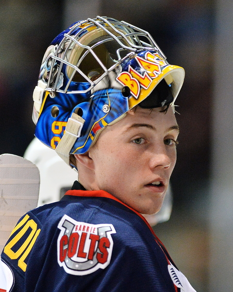 Mackenzie Blackwood of the Barrie Colts. Photo by Terry Wilson/OHL Images.