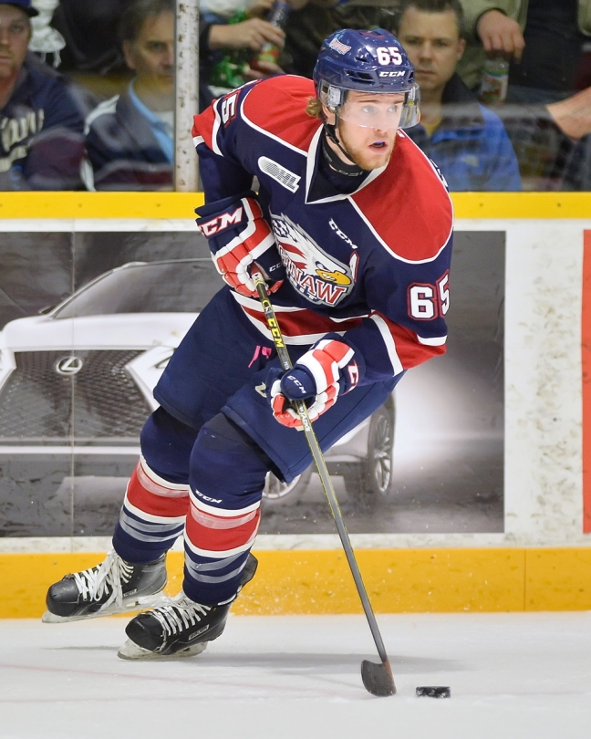 Will Petschenig of the Saginaw Spirit. Photo by Terry Wilson / OHL Images.