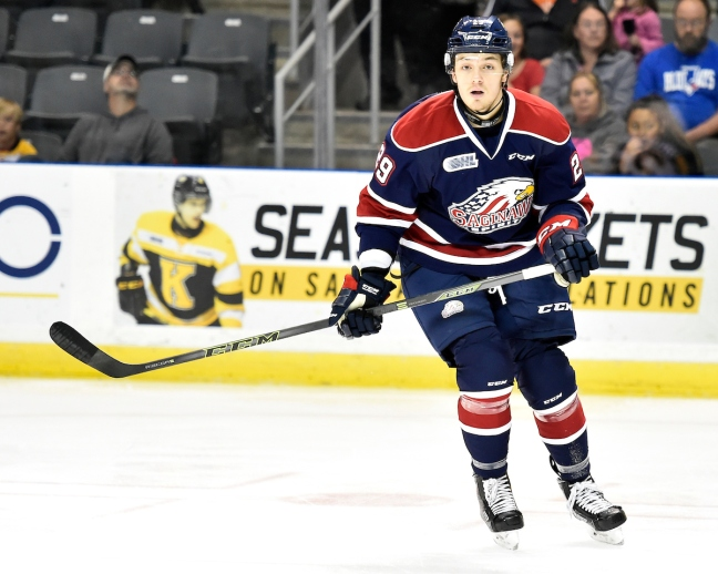 Hayden Hodgson of the Saginaw Spirit. Photo by Aaron Bell/OHL Images