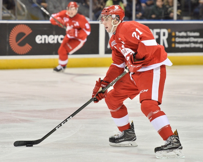Conor Timmins of the Sault Ste. Marie Greyhounds. Photo by Terry Wilson / OHL Images.