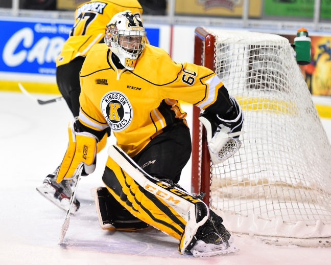 Jeremy Helvig of the Kingston Frontenacs. Photo by Aaron Bell/OHL Images