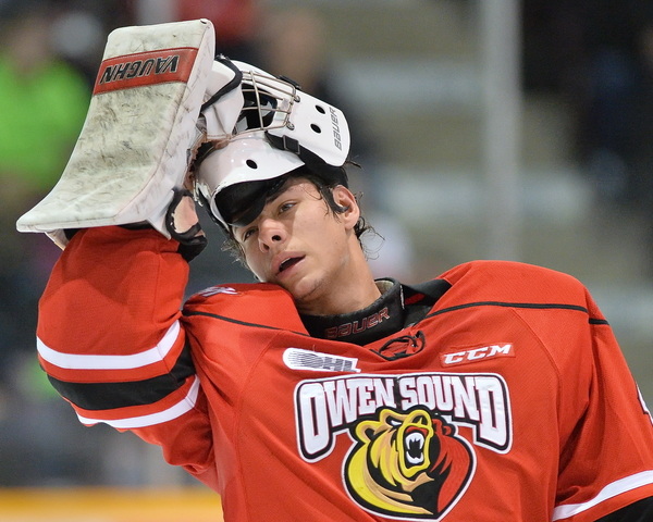 Michael McNiven of the Owen Sound Attack. Photo by Terry Wilson/OHL Images.