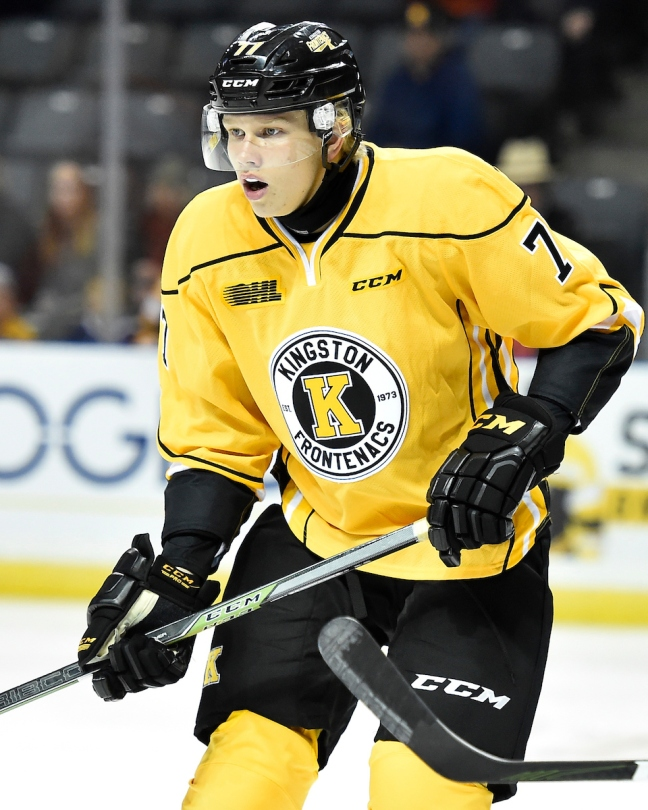 Eemeli Rasanen of the Kingston Frontenacs. Photo by Aaron Bell/OHL Images