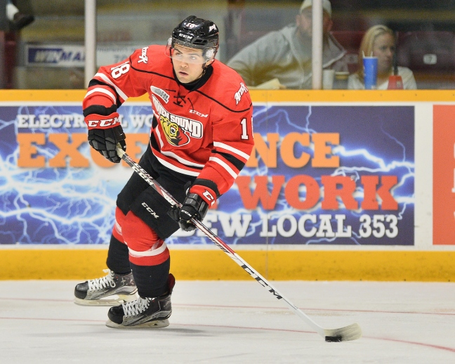 Markus Phillips of the Owen Sound Attack. Photo by Terry Wilson / OHL Images.