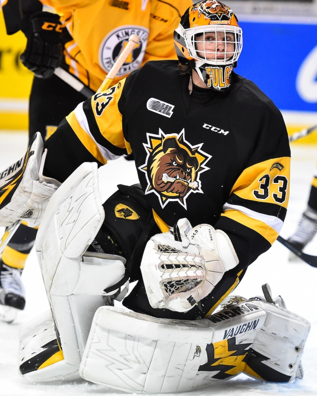 Kaden Fulcher of the Hamilton Bulldogs. Photo by Aaron Bell/OHL Images