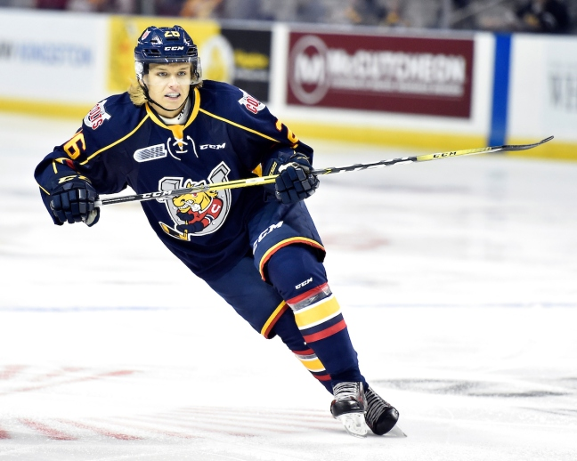 Tom Hedberg of the Barrie Colts. Photo by Aaron Bell/OHL Images