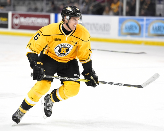 Jacob Paquette of the Kingston Frontenacs. Photo by Aaron Bell/OHL Images