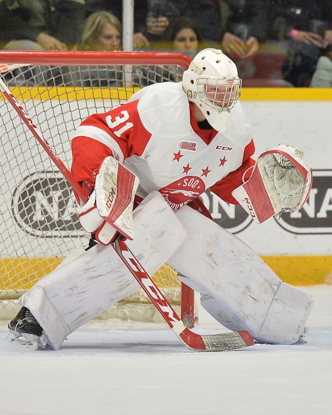 Matthew Villalta of the Sault Ste. Marie Greyhounds. Photo by Terry Wilson / OHL Images.