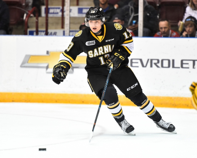 Brady Hinz of the Sarnia Sting. Photo by Aaron Bell/OHL Images
