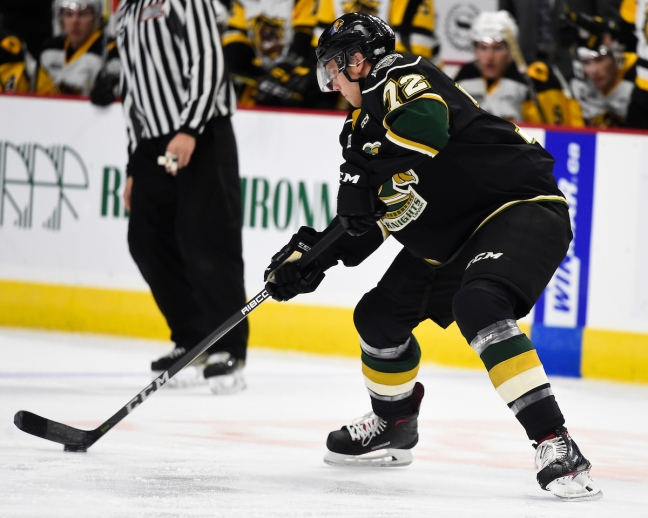 Alec Regula of the London Knights. Photo by Aaron Bell/OHL Images