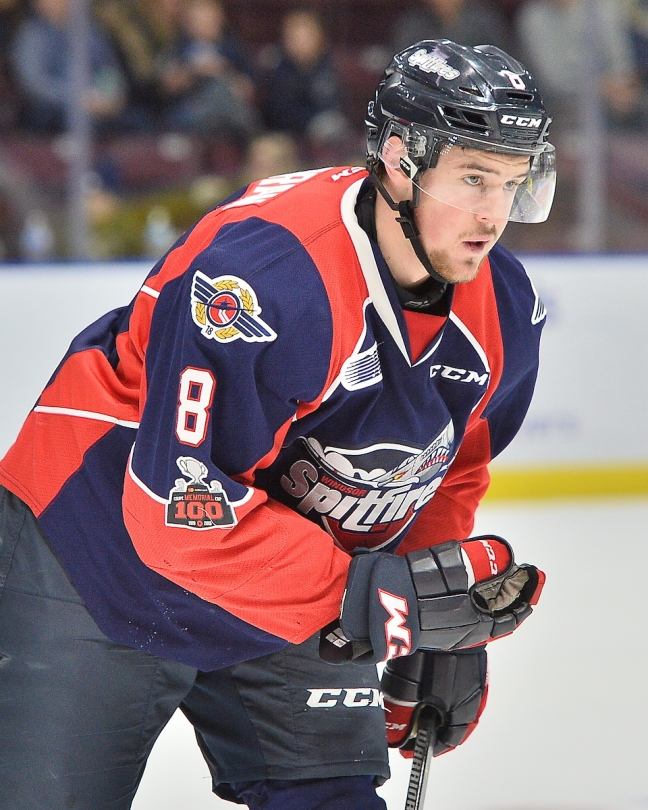 Connor Cororan of the Windsor Spitfires. Photo by Terry Wilson / OHL Images.