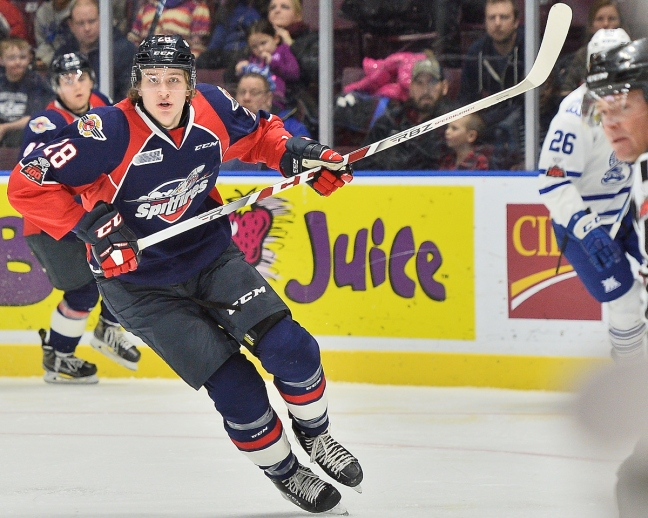 Curtis Douglas of the Windsor Spitfires. Photo by Terry Wilson / OHL Images.