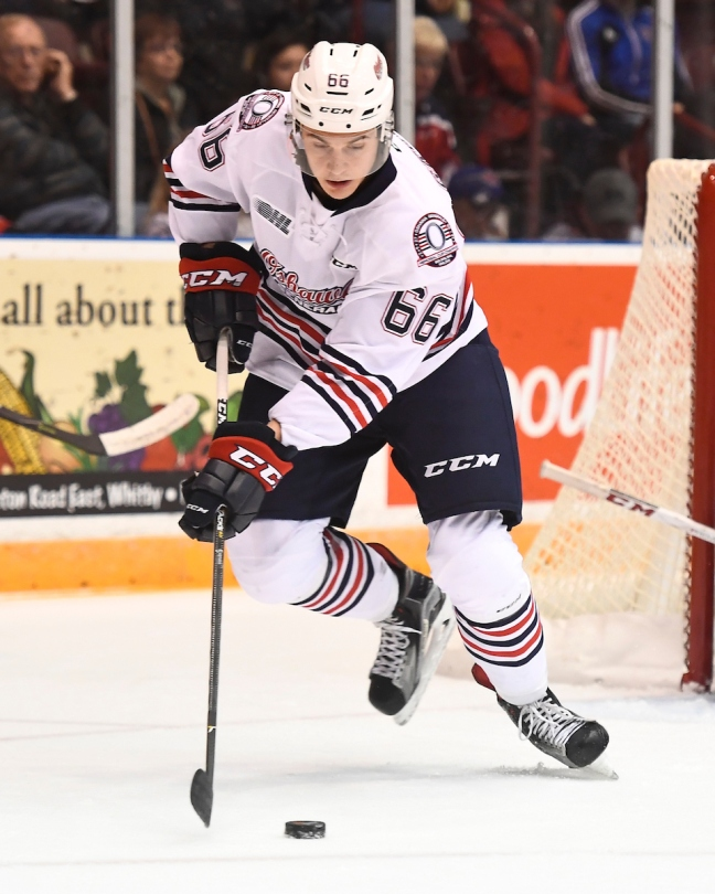 Nico Gross of the Oshawa Generals. Photo by Aaron Bell/OHL Images