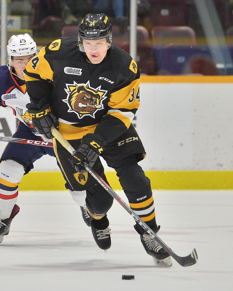 Arthur Kaliyev of the Hamilton Bulldogs. Photo by Terry Wilson / OHL Images.