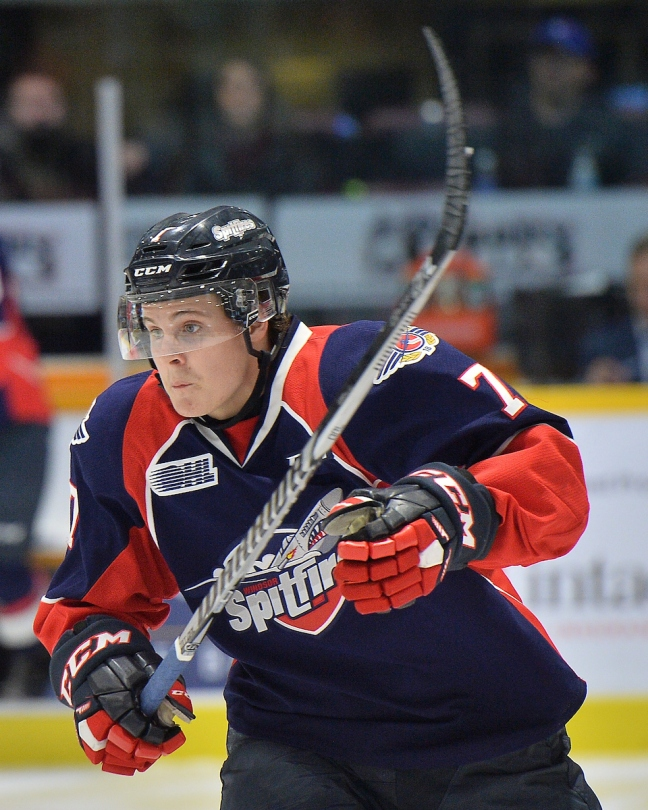 Tyler Angle of the Windsor Spitfires. Photo by Terry Wilson / OHL Images.