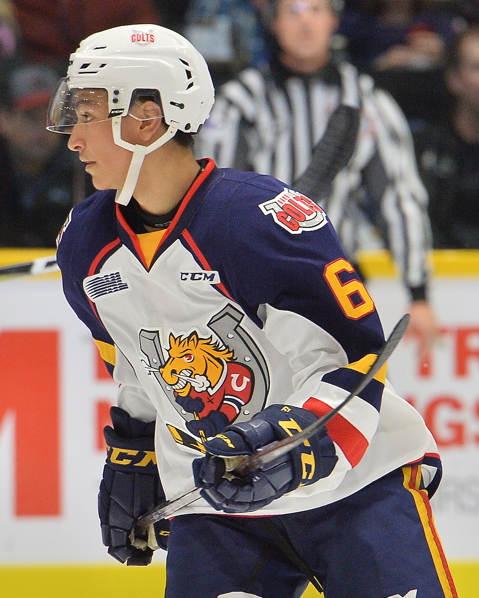 Ryan Suzuki of the Barrie Colts. Photo by Terry Wilson / OHL Images.