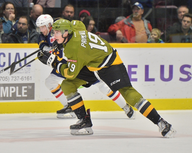 Mason Primeau of the North Bay Battalion. Photo by Terry Wilson / OHL Images.