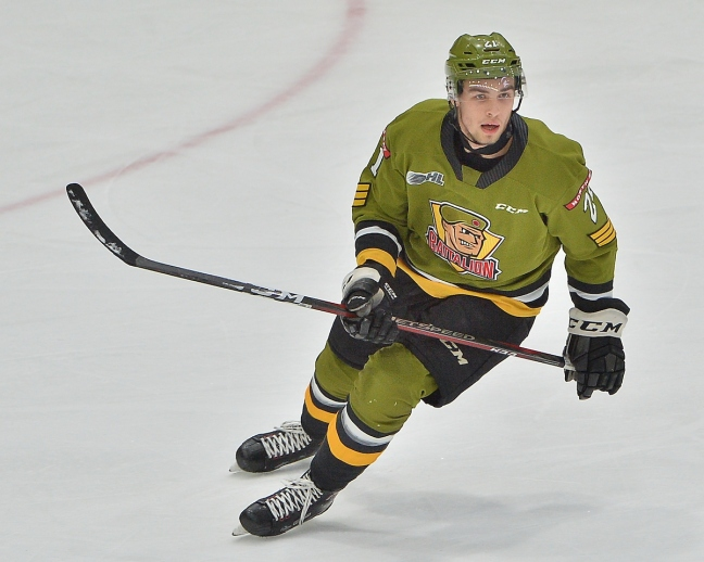 Brandon Coe of the North Bay Battalion. Photo by Terry Wilson / OHL Images.