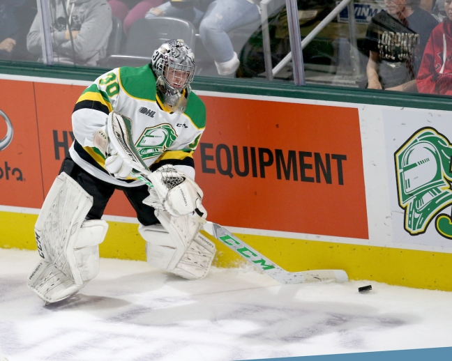 Brett Brochu of the London Knights. Photo by Luke Durda/OHL Images