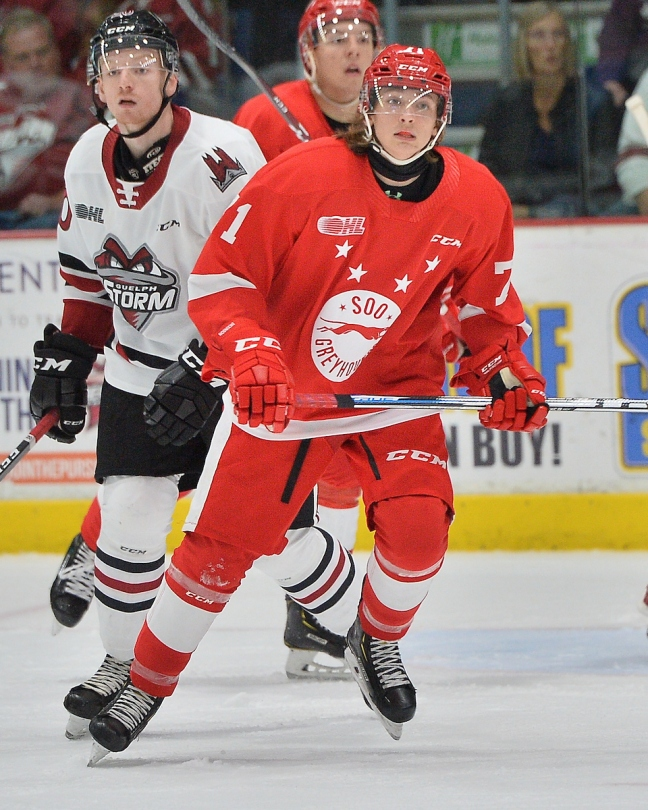 Tanner Dickinson of the Sault Ste. Marie Greyhounds. Photo by Terry Wilson / OHL Images.