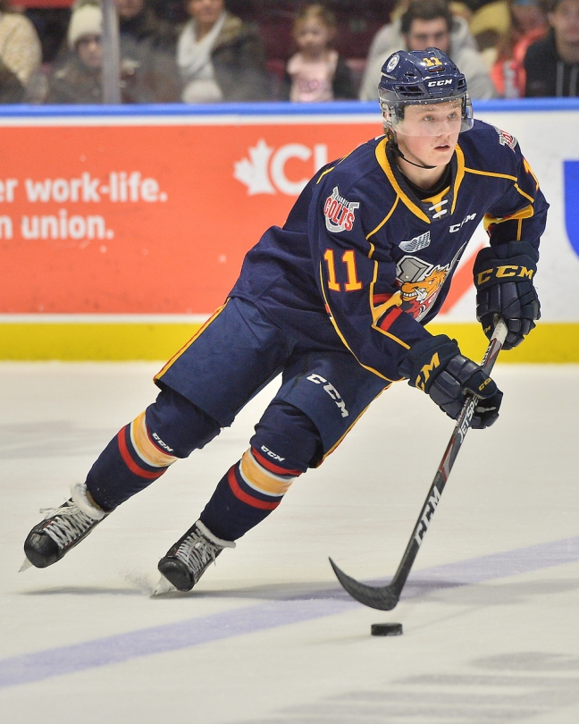 Ethan Cardwell of the Barrie Colts. Photo by Terry Wilson / OHL Images