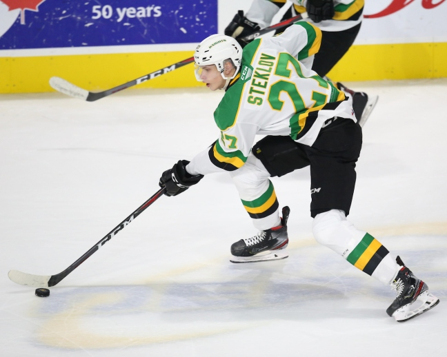 Kirill Steklov of the London Knights. Photo by Luke Durda/OHL Images