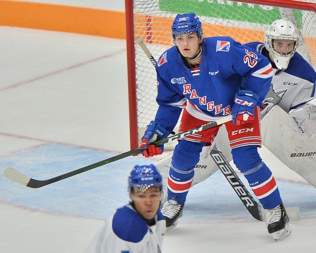 Declan McDonnell of the Kitchener Rangers. Photo by Terry Wilson / OHL Images.