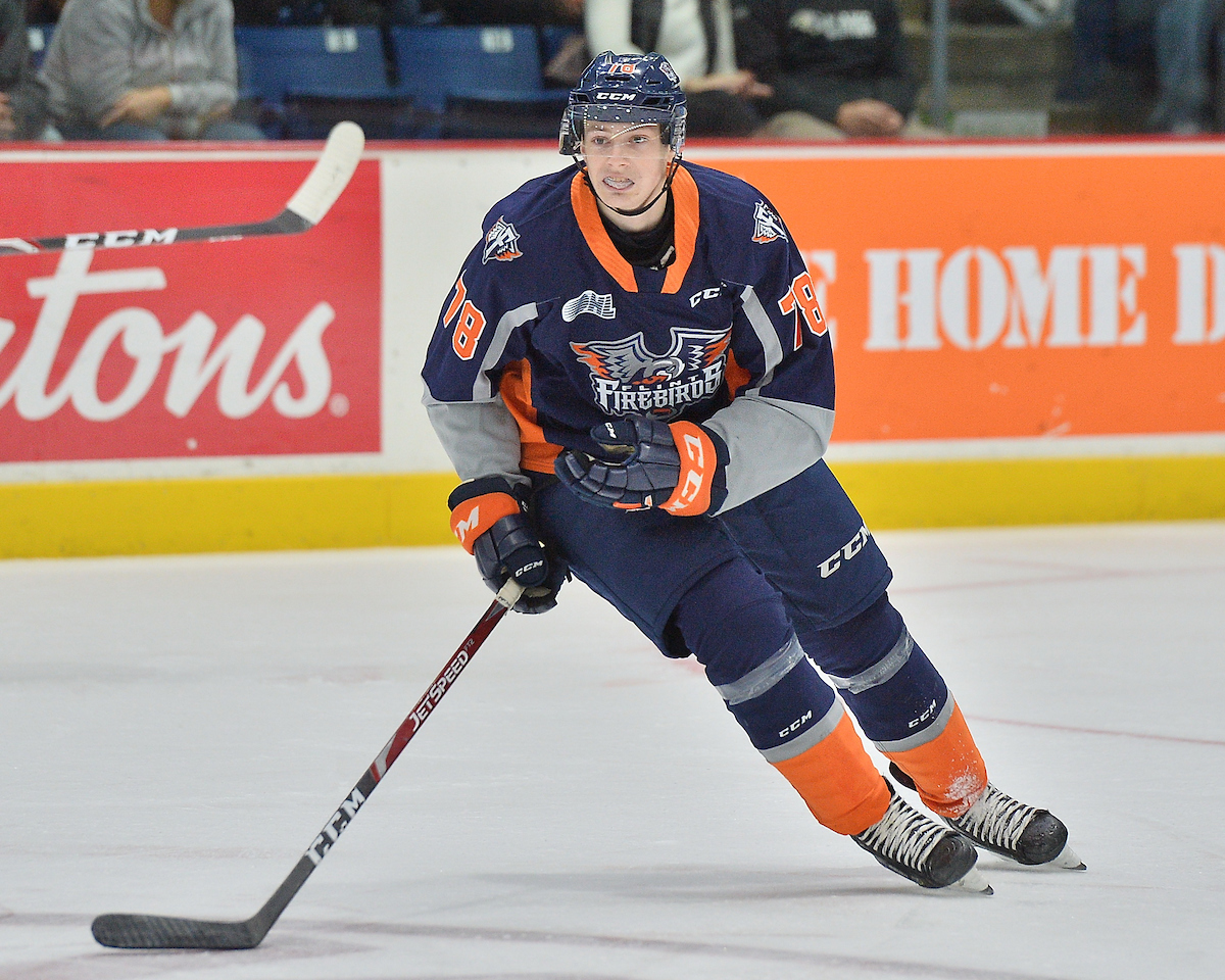 Brennan Othmann of the Flint Firebirds. Photo by Terry Wilson / OHL Images.