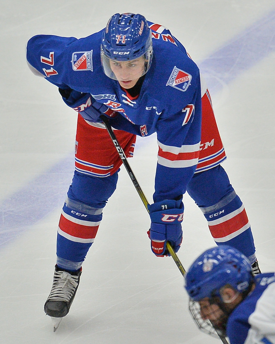 Francesco Pinelli of the Kitchener Rangers. Photo by Terry Wilson / OHL Images.
